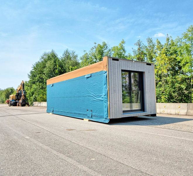 Timber Homes - Holzraummodul von außen